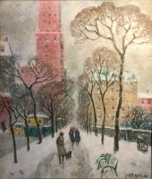 Along Central Park on a Snowy Day, 1938