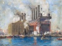 New York City Power Plant and Tugboats (Edison Building)