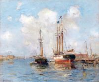 Sailing Ships in a Harbor